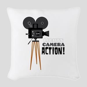 Lights Camera Action! Woven Throw Pillow