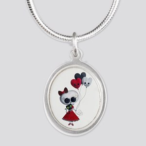 Cute Skeleton Girl with Spooky Balloons Necklaces