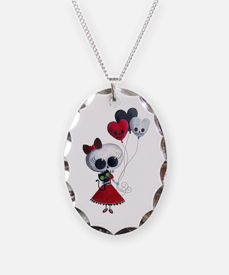 Cute Skeleton Girl with Spooky Balloons Necklace