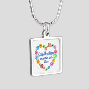 Granddaughter Love Silver Square Necklace