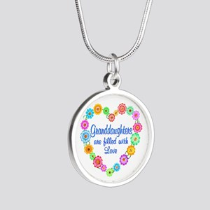 Granddaughter Love Silver Round Necklace