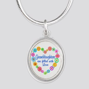 Granddaughter Love Silver Oval Necklace