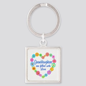 Granddaughter Love Square Keychain