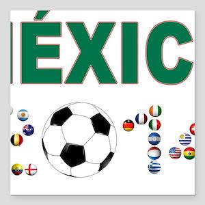 """México futbol soccer Square Car Magnet 3"""" x 3"""""""