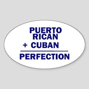 Cuban + Puerto Rican Oval Sticker