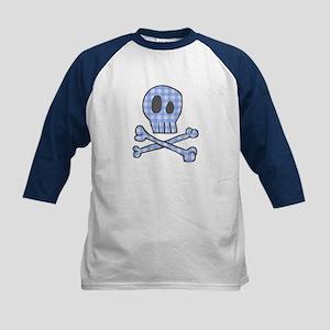 Blue Gingham Pirate Kids Baseball Jersey