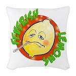 Feverish Lemons Circle Woven Throw Pillow