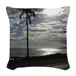 Palm Tree Evening Woven Throw Pillow