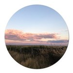 Prairie Summer Sunset Round Car Magnet