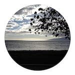 Seaside Tree Round Car Magnet
