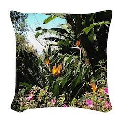 Tropical Gardens on Maui Woven Throw Pillow