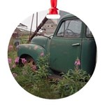 Farm Truck with Flowers Round Ornament