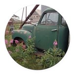 Farm Truck with Flowers Round Car Magnet