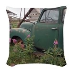 Farm Truck with Flowers Woven Throw Pillow