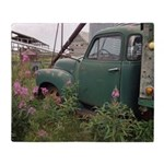 Farm Truck with Flowers Throw Blanket