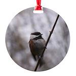 Chickadee Winter Round Ornament