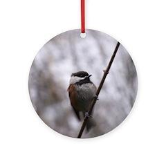 Chickadee Winter Ornament (Round)