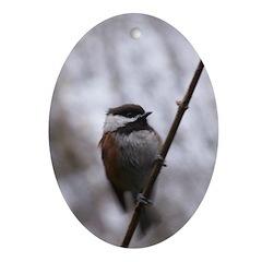 Chickadee Winter Ornament (Oval)