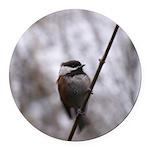 Chickadee Winter Round Car Magnet