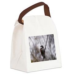 Chickadee Winter Canvas Lunch Bag
