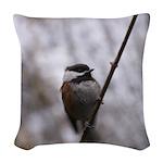 Chickadee Winter Woven Throw Pillow