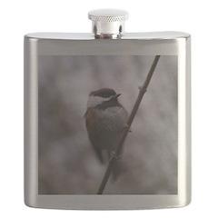Chickadee Winter Flask