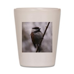 Chickadee Winter Shot Glass