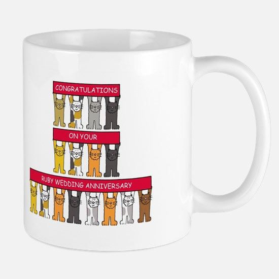 Ruby wedding congratulations with cats. Mugs