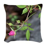 Perfect Pink Bud Woven Throw Pillow