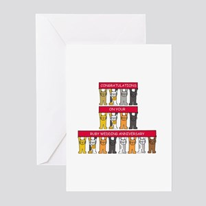 Ruby wedding congratulations with c Greeting Cards