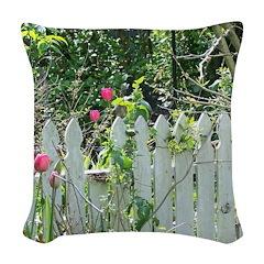 Cheerful Garden Woven Throw Pillow