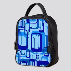 retro pattern 1971 blue Neoprene Lunch Bag