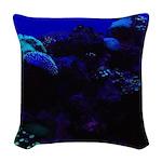 Dark Coral Woven Throw Pillow