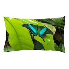 Green Moss Peacock Butterfly Pillow Case
