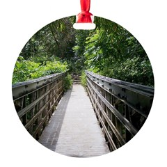 Bridge in the Bamboo Forest Round Ornament
