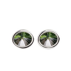 Bridge in the Bamboo Forest Oval Cufflinks
