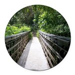 Bridge in the Bamboo Forest Round Car Magnet