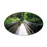 Bridge in the Bamboo Forest Oval Car Magnet