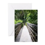 Bridge in the Bamboo Forest Greeting Cards