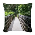 Bridge in the Bamboo Forest Woven Throw Pillow