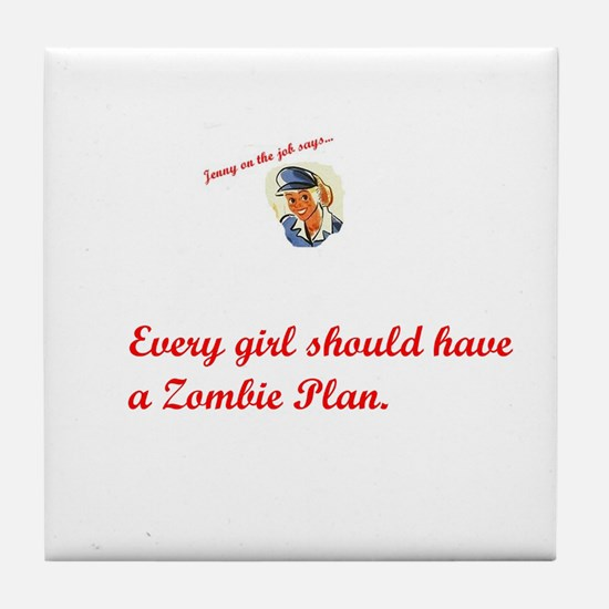 Jenny on the job has a zombie plan Tile Coaster