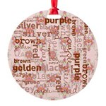 made of words colors brown Ornament