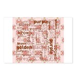 made of words colors brown Postcards (Package of 8