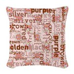 made of words colors brown Woven Throw Pillow