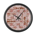 made of words colors brown Large Wall Clock