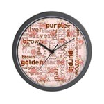 made of words colors brown Wall Clock