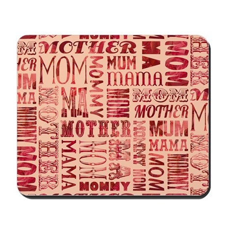 Mothers Day Typography Pattern Mousepad