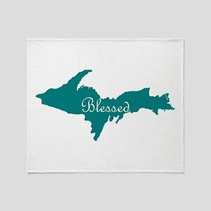 Script Blessed On Teal U.P. Throw Blanket