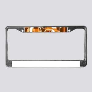 retro pattern 1971 orange License Plate Frame