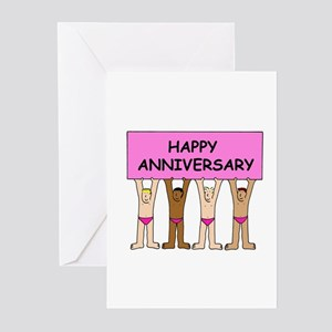 Happy Anniversary gay men in pink p Greeting Cards